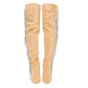 Tan Pointy Toe OTK Boots w/ Rhinestone Fringe